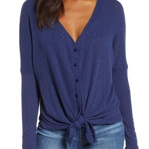 Caslon button front ribbed long sleeve